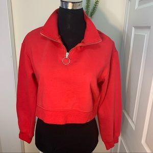 Divided Crop Zipper Detailing 60%CottonSweatshirt